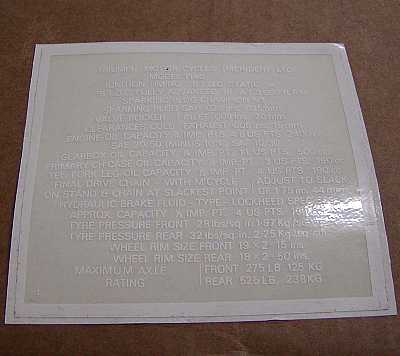 Decal, Specification Chart
